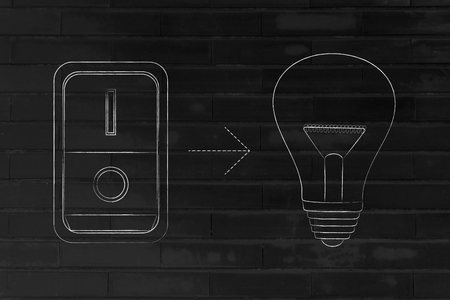 inventiveness: idea lightbulb with switch turned on, concept of activating solutions or imagination