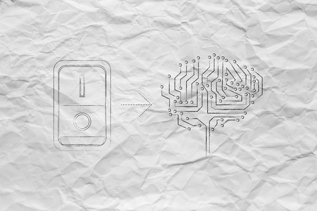 leds: artificial circuit brain with leds and switch turned on, concept of activating intuition or creativity