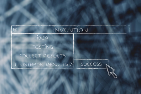 Invention menu in dropdown style with pointer clicking the Success option, metaphor of selecting the best choice