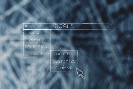 Goal menu in dropdown style, metaphor of selecting and activating the best choices for your work