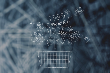 competitive advantage: shopping basket & packaging with text Your Product among other items from the competition, concept of competitive advantage and pricing