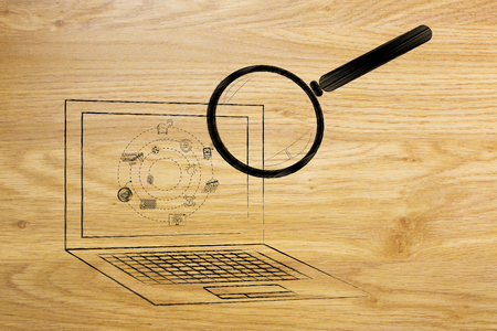 laptop being analyzed by magnifying glass for viruses or other threats, concept of antivirus system scan