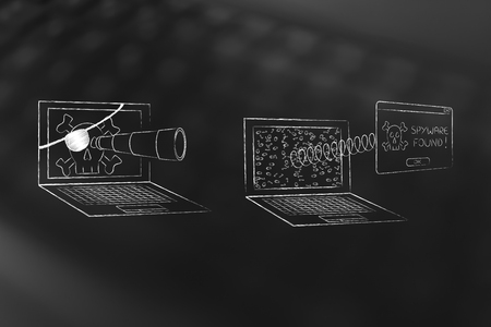 adware: pirate laptop with telescope spying data from another one with pop-up message Spyware Found coming out of the screeen with a spring