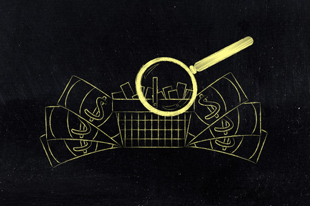 oversize: magnifying glass analyzing a shopping cart full of products with oversize cash surrounding it, concept of market segmentation and profitable items that sell well