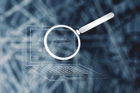ウイルスや、進行状況バー、システムのウイルス対策スキャンの概念とその他の脅威を虫眼鏡によって分析するノート パソコン 写真素材