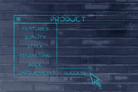 Product menu in dropdown style with pointer clicking the Success option, metaphor of selecting the best choices for your company