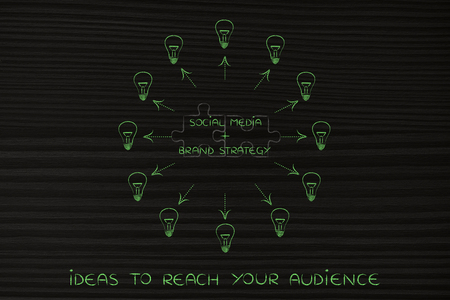 inventiveness: social media plus brand strategy: key marketing concept pairs over matching puzzle pieces and surrounded ideas (lightbulbs with arrows) Stock Photo