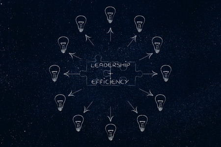 leadership key: leadership plus efficiency: key business concept pairs over matching puzzle pieces and surrounded by ideas (lightbulbs with arrows) Stock Photo