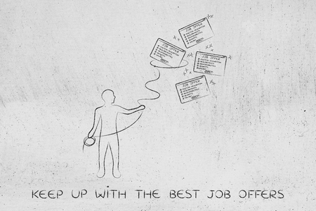 lasso: filter job applications: man with lasso trying to catch job offers
