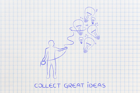 elaboration: person trying to collect lightbulbs (symbol of ideas) with a lasso, metaphor of being creative and inventive Stock Photo