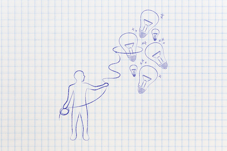 inventiveness: person trying to collect lightbulbs (symbol of ideas) with a lasso, metaphor of being creative and inventive Stock Photo