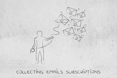 lasso: person with lasso catching falling envelopes, concept of email or communication management Stock Photo