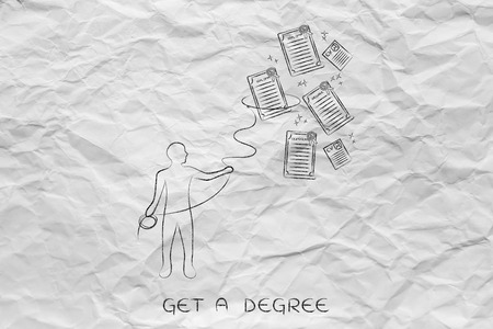 qualifications: person with lasso collecting degrees and certificates, concept of diversifying your qualifications