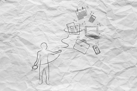 lasso: person with lasso catching falling office objects, concept of multitasking or stress and time management