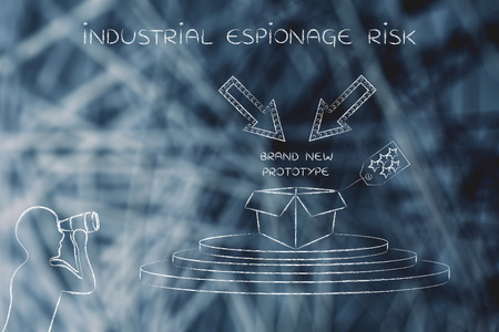 industrial espionage: confidential prototype & person spying with binoculars, concept of trade secrets and industrial espionage threats Stock Photo