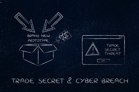 espionage: confidential prototype & pop-up with alert message, concept of trade secrets and industrial espionage threats