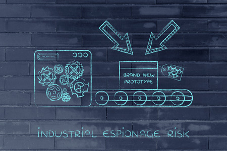 industrial espionage: confidential prototype on factory production line machine, concept of trade secrets and industrial espionage threats Stock Photo