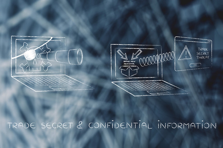 pirate laptop with telescope spying on trade secrets on another laptop with confidential prototype on screen and alert message pop-up, concept of industrial espionage threats Stock Photo