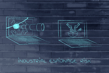 trade secret: pirate laptop with telescope spying on trade secrets on another laptop with confidential prototype on screen, concept of industrial espionage threats Stock Photo