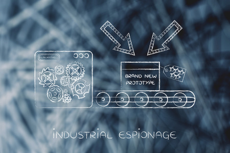 espionage: confidential prototype on factory production line machine, concept of trade secrets and industrial espionage threats Stock Photo