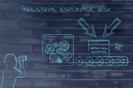 espionage: confidential prototype on factory production line machine & person spying with binoculars, concept of trade secrets and industrial espionage threats Stock Photo