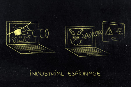 industrial espionage: pirate laptop with telescope spying on trade secrets on another laptop with confidential prototype on screen and alert message pop-up, concept of industrial espionage threats Stock Photo