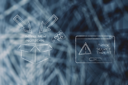 industrial espionage: confidential prototype & pop-up with alert message, concept of trade secrets and industrial espionage threats