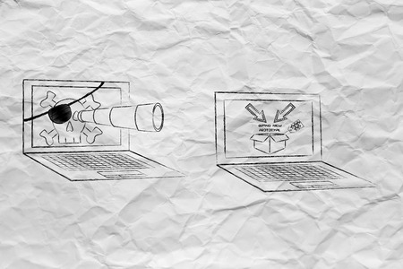 industrial espionage: pirate laptop with telescope spying on trade secrets on another laptop with confidential prototype on screen, concept of industrial espionage threats Stock Photo