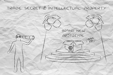 danger box: confidential prototype on stage & person spying with binoculars, concept of trade secrets and industrial espionage threats