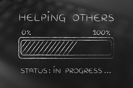 others: helping others: illustration with text and progress bar with status loading