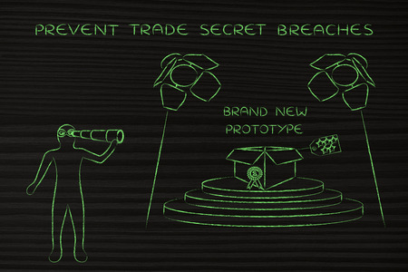 industrial espionage: confidential prototype on stage & person spying with binoculars, concept of trade secrets and industrial espionage threats