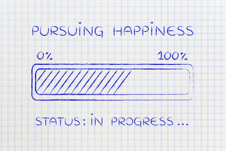 pursuing: pursuing happiness: illustration with text and progress bar with status loading