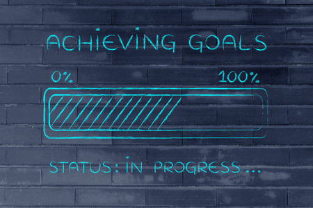 achieving: achieving goals: illustration with text and progress bar with status loading