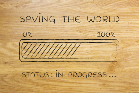 helping others: saving the world: illustration with text and progress bar with status loading Stock Photo