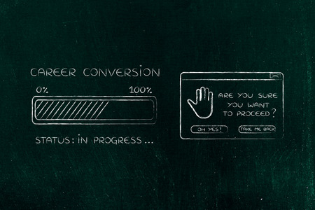 proceed: career conversion: illustration with text and progress bar with status loading next to pop-up message Are you sure you want to proceed