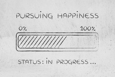 elaboration: pursuing happiness: illustration with text and progress bar with status loading