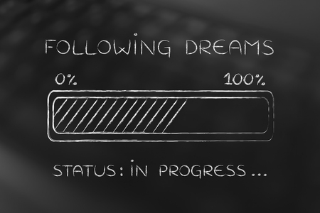 elaboration: following dreams: illustration with text and progress bar with status loading