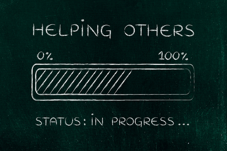 helping others: helping others: illustration with text and progress bar with status loading
