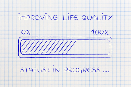 improving: improving life quality: illustration with text and progress bar with status loading Stock Photo