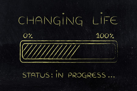 different goals: changing life: illustration with text and progress bar with status loading Stock Photo