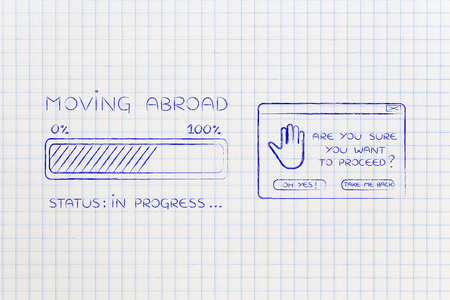 proceed: moving abroad: illustration with text and progress bar with status loading next to pop-up message Are you sure you want to proceed