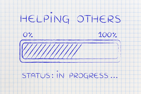 elaboration: helping others: illustration with text and progress bar with status loading