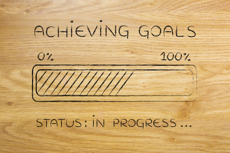 pursue: achieving goals: illustration with text and progress bar with status loading