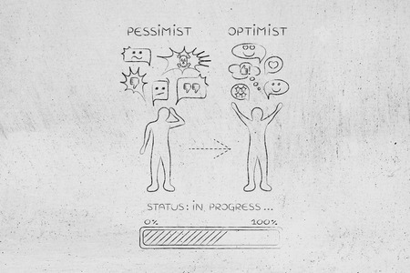 pessimist: from pessimist to optimist: person switching from a negative to a positive reaction, with progress bar loading and comic bubbles