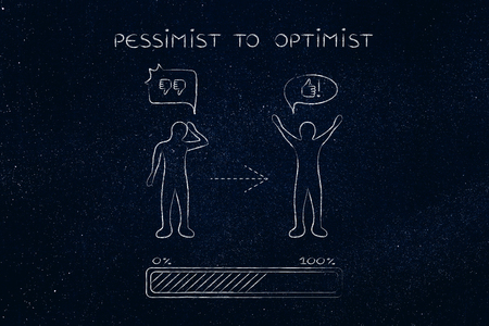 and an optimist: pessimist to optimist: person changing from a negative to a positive attitude with comic bubbles & progress bar loading