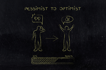 hesitant: pessimist to optimist: person changing from a negative to a positive attitude with comic bubbles & progress bar loading