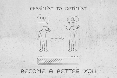 unhappiness: pessimist to optimist: person changing from a negative to a positive attitude with comic bubbles & progress bar loading