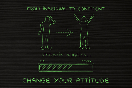 hesitant: from insecure to confident: person changing from a negative to a positive attitude, with progress bar loading