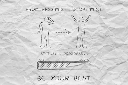 and an optimist: from pessimist to optimist: person changing from a negative to a positive attitude, with progress bar loading