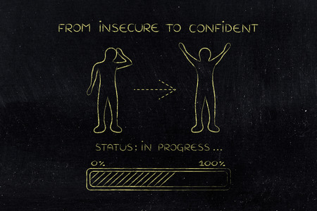 unhappiness: from insecure to confident: person changing from a negative to a positive attitude, with progress bar loading